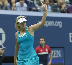 September 6, 2017 - New York, New York, United States - Coco Vandeweghe of USA challenges linesman call during match against Karolina Pliskova of Czech Republic at US Open Championships at Billie Jean King National Tennis Center  (Credit Image: © Lev Radin/Pacific Press via ZUMA Wire)