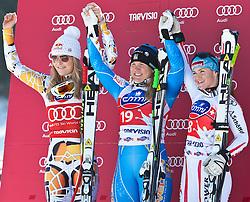 05.03.2011, Pista di Prampero, Tarvis, ITA, FIS Weltcup Ski Alpin, Abfahrt der Damen, im Bild Podium v.l. Lindsey Vonn (USA, Platz 2), Anja Paerson (SWE, Platz 1) und Elisabeth Goergl (AUT, Platz 3) // Podium v.l. Lindsey Vonn (USA place 2) Anja Paerson (SWE place 1) and Elisabeth Goergl (AUT place 3) during Ladie's Downhill FIS World Cup Alpin Ski in Tarvisio Italy on 5/3/2011. EXPA Pictures © 2011, PhotoCredit: EXPA/ J. Groder