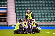 Twickenham, Surrey. UK.  Oxford Medicial staff check, prop Hazell ELLENDER, during the 2017 Women's Varsity Rugby Match, Oxford vs Cambridge Universities. RFU Stadium, Twickenham. Surrey, England.<br /> <br /> Thursday  07.12.17  <br /> <br /> [Mandatory Credit Peter SPURRIER/Intersport Images]