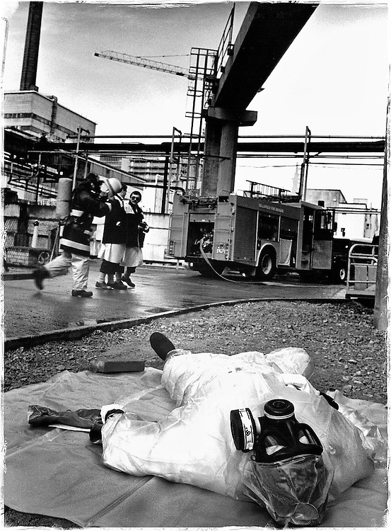 Sellafield, Cumbria. An emergency exercise set by the Nuclear Installations Inspectorate. During the exercise a process operator breaks his leg. This 'mock' accident is to test both the ambulance, medical teams and the fire brigade. The exercise is carried out to test Sellafield's efficiency in the event of such an emergency.