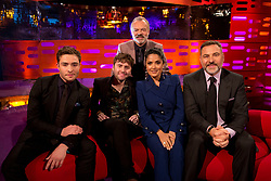 Host Graham Norton with (seated left to right) Ed Westwick, James Buckley, Salma Hayek, and David Walliams during the filming of the Graham Norton Show at the London Studios, to be aired on BBC One on Friday.