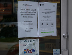 General views of Stirling City centre and shops during the Coronavirus outbreak, 18 March 2020<br /> <br /> Pictured: Lloyd's Pharmacy give advice to customers in a sign on their window<br /> <br /> Alex Todd | Edinburgh Elite media