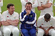 Glam cc coach Matthew Mott (c) shares a joke with Robert Croft (l) and capt Alviro Petersen (r) . Glamorgan county cricket club official photocall at the Swalec Stadium, Sophia Gardens in Cardiff on Wed 13th April 2011. pic by Andrew Orchard