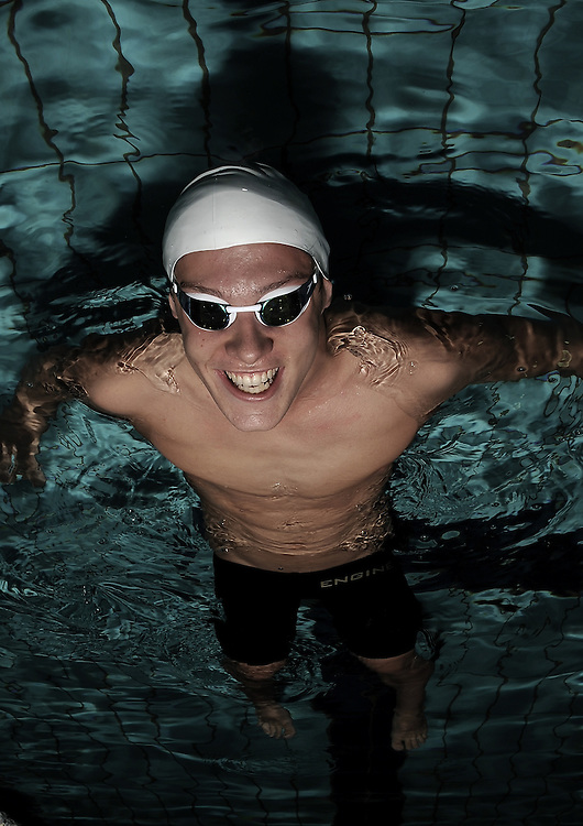 BRISBANE, AUSTRALIA - APRIL 14:  (EDITORS NOTE: Image has been desaturated) Australian swimmer Mitch Larkin poses during a portrait session at Sleeman Sports Complex on April 14, 2012 in Brisbane, Australia.  (Photo by Matt Roberts/Getty Images)