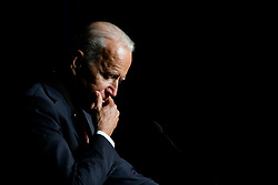 Joe Biden delivers the keynote speech at the First State Democratic Dinner at the Rollins Center in Dover, DE on March 16, 2019.