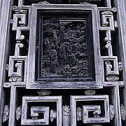 China, Cities, City of Shanghai. Carved window.