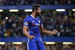 Diego Costa of Chelsea celebrates scoring a goal to make it 2-1 - Rogan Thomson/JMP - 15/08/2016 - FOOTBALL - Stamford Bridge Stadium - London, England - Chelsea v West Ham United - Premier League Opening Weekend.