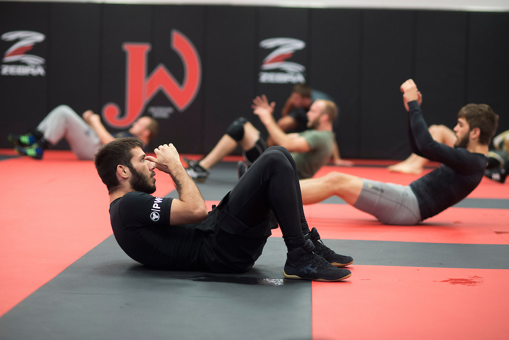 UFC flyweight Matheus Nicolau of Brazil warms up before a group class at Jackson Wink MMA in Albuquerque, New Mexico on June 10, 2016.
