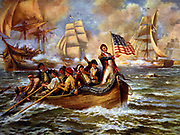 War of 1812: Battle of Lake Erie (Put-in-Bay), Ohio, 10 September 1813. Oliver Hazard Perry  in bow of small rowing boat after abandoning his flagship 'Lawrence' transferring to 'Niagara'.  Decisive American victory over Britain. Naval.  C1911
