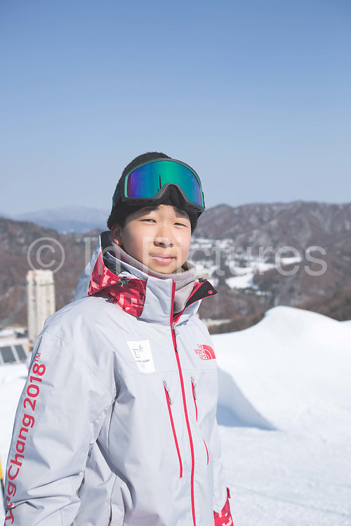 A local volunteer during the snowboard slopestyle practice on the 8th February 2018 at Phoenix Snow Park for the Pyeongchang 2018 Winter Olympics in South Korea
