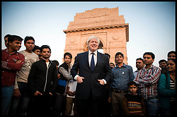 London Mayor Boris Johnson at India Gate in New Delhi, on the first of a six-day tour of India, where he will be trying to persuade Indian businesses to invest in London, Sunday November 25, 2012. Photo by Andrew Parsons / i-Images