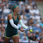Victoria Azarenka, Belarus, in action against Simona Halep, Romania, in the Women's Singles Quarterfinals match during the US Open Tennis Tournament, Flushing, New York, USA. 9th September 2015. Photo Tim Clayton