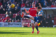 Mike-Steven Bahre of Barnsley (21) and Dominic Gape of Wycombe Wanderers (4) battle for the loose ball during the EFL Sky Bet League 1 match between Barnsley and Wycombe Wanderers at Oakwell, Barnsley, England on 16 February 2019.