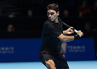 Tennis - 2019 Nitto ATP Finals at The O2 - Day One<br /> <br /> Singles Group Bjorn Borg: Roger Federer (Switzerland) vs. Dominic Thiem (Austria)<br /> <br /> Roger Federer (Switzerland) on his way to losing to Dominic Thiem (Austria) in two sets <br /> <br /> COLORSPORT/DANIEL BEARHAM