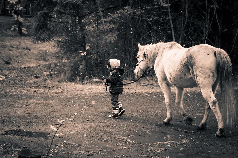 Nyah & Friday A boy walking his white horse