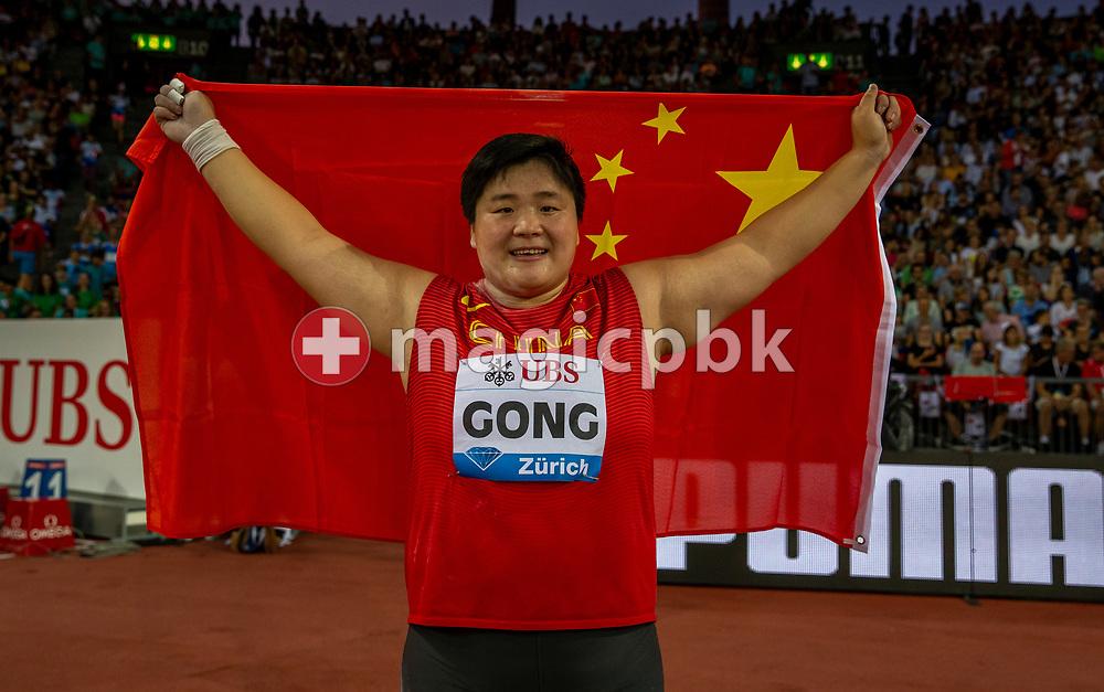 Lijiao GONG of China celebrates after winning in the Women's Shot Put during the Iaaf Diamond League meeting (Weltklasse Zuerich) at the Letzigrund Stadium in Zurich, Switzerland, Thursday, Aug. 29, 2019. (Photo by Patrick B. Kraemer / MAGICPBK)