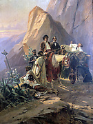 Alexander Dumas in Spain: Memory of a Journey from Paris to Cadiz. Painting by Eugene Giraud (1806-1881) oil on canvas, 1830.  Dumas  with companions and guides pausing in a moutain landscape, 1846.