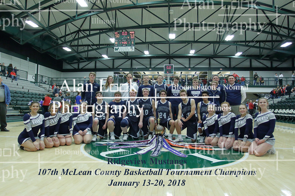 20 January 2018: Ridgeview Mustangs v Gibson City - Melvin - Sibley (GCMS) Falcons. IHSA Boys Basketball game during the McLean County Tournament at Shirk Center in Bloomington Illinois