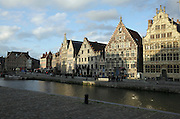Belgium Gent historical center on the Leie at the medieval Graslei harbour