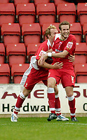 Photo: Leigh Quinnell.<br /> Swindon Town v Grimsby Town. Coca Cola League 2. 14/10/2006. Swindons Andy Monkhouse celebrates his goal.