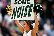 SHOT 1/28/12 3:34:50 PM - A Colorado State University cheerleader performs during a break in the action against San Diego State during the team's regular season Mountain West conference game at Moby Arena in Fort Collins, Co. Colorado State upset 12th ranked San Diego State 77-60. (Photo by Marc Piscotty / © 2012)