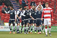 Millwall celebrate Steve Morison of Millwall FC scoring to go 1-0 up during the Sky Bet League 1 match between Doncaster Rovers and Millwall at the Keepmoat Stadium, Doncaster, England on 27 February 2016. Photo by Ian Lyall.