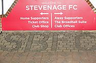 Ground shot of Stevenage FC brick signage during the EFL Sky Bet League 2 match between Stevenage and Bradford City at the Lamex Stadium, Stevenage, England on 5 April 2021.