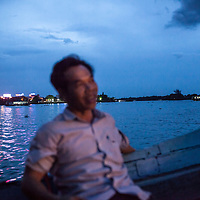 On a toursit boat on the Perfume River in Hue, Vietnam.
