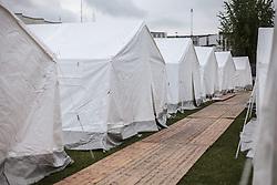 24.05.2015, Polizeidirektion, Salzburg, AUT, Zeltstadt fuer Fluechtlinge in Salzburg, im Bild Aussenansicht der Zelte // the tent city for Refugees at the sports ground of the Police Directorate, Salzburg, Austria on 2015/05/24. EXPA Pictures © 2015, PhotoCredit: EXPA/ JFK