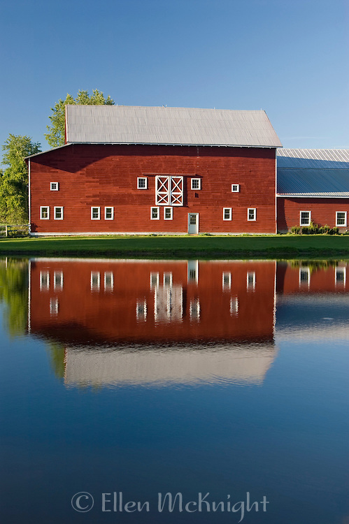 Red Barn & Reflections in Late Afternoon in Columbia County, New York