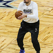 ORLANDO, FL - MARCH 01: Nikola Vucevic #9 of the Orlando Magic warms up prior to a game against the Dallas Mavericks at Amway Center on March 1, 2021 in Orlando, Florida. NOTE TO USER: User expressly acknowledges and agrees that, by downloading and or using this photograph, User is consenting to the terms and conditions of the Getty Images License Agreement. (Photo by Alex Menendez/Getty Images)*** Local Caption *** Nikola Vucevic