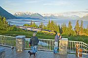 Alaska Railroad train passes Bird point on its way along Turnagain Arm