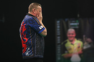 Glen Durrant after winning the 2020 Premier League during the Unibet Premier League Play-Offs at the Ricoh Arena, Coventry, England on 15 October 2020.