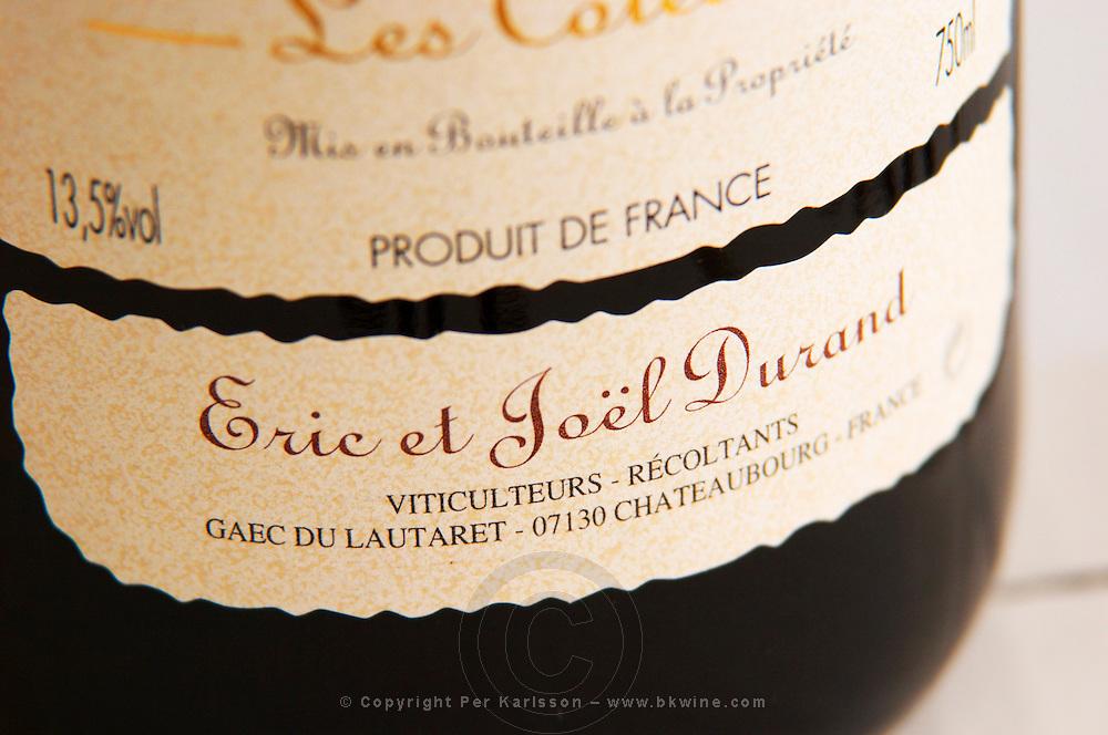 Detail of a label.  Domaine Eric et Joel Joël Durand, Ardeche, Ardèche, France, Europe