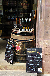 Local wine for sale outside a shop in Colmar, Alsace, France<br /> <br /> (c) Andrew Wilson | Edinburgh Elite media