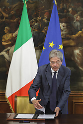 May 29, 2017 - Rome, Italy - Italian Prime Minister Paolo Gentiloni signs a Presidential Decree for a long-term plan involving considerable resources and investment for growth, infrastructure and technology for 47 billion for the next 15 years at Chigi Palace in Rome, Italy on May 29, 2017. (Credit Image: © Giuseppe Ciccia/NurPhoto via ZUMA Press)