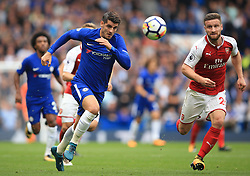 17 September 2017 -  Premier League - Chelsea v Arsenal - Alvaro Morata of Chelsea in action with Shkodran Mustafi of Arsenal - Photo: Marc Atkins/Offside