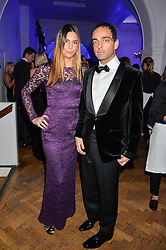 ZARA SIMON and her husband ANDY VALMORBIDA at the Sugarplum Dinner in aid Sugarplum Children a charity supporting children with type 1 diabetes and raising funds for JDRF, the world's leading type 1 diabetes research charity held at One Marylebone, London on 18th November 2015.