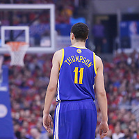 21 April 2014: Golden State Warriors guard Klay Thompson (11) rests during the Los Angeles Clippers 138-98 victory over the Golden State Warriors, during Game Two of the Western Conference Quarterfinals of the NBA Playoffs, at the Staples Center, Los Angeles, California, USA.