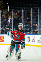 KELOWNA, BC - NOVEMBER 26: Roman Basran #30 of the Kelowna Rockets accepts the second star of the game against the Edmonton Oil Kings at Prospera Place on November 26, 2019 in Kelowna, Canada. (Photo by Marissa Baecker/Shoot the Breeze)