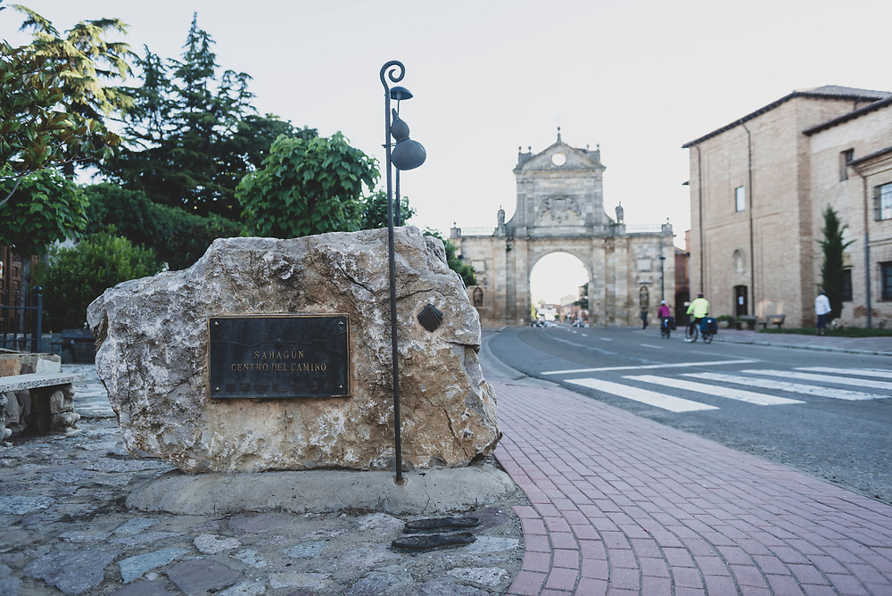 A plaque in the town of Sahagun marks the highway point (more or less) of the Camino Frances. (June 20, 2018)