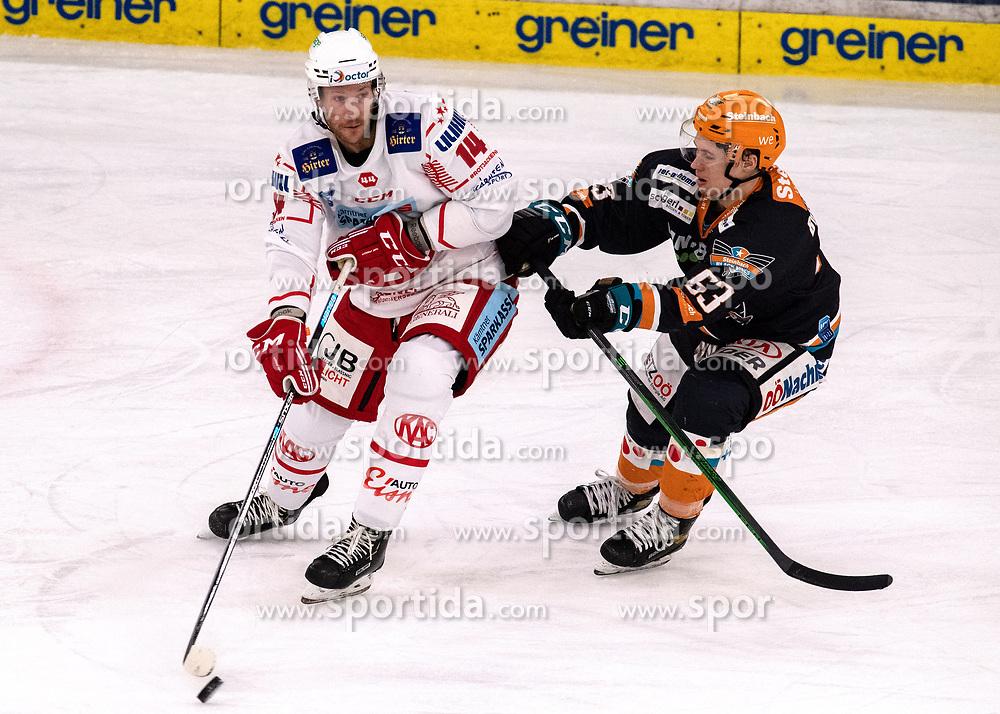 08.01.2021, Keine Sorgen Eisarena, Linz, AUT, ICE, Black Wings 1992 vs EC KAC, im Bild v.l. Paul Postma (EC KAC), Niklas Bretschneider (Steinbach Black Wings 1992) // during the bet-at-home ICE Hockey League match between Black Wings 1992 and EC KAC at the Keine Sorgen Eisarena in Linz, Austria on 2021/01/08. EXPA Pictures © 2020, PhotoCredit: EXPA/ Reinhard Eisenbauer