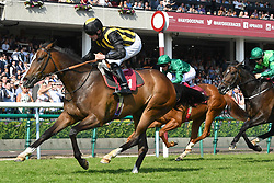Classic Times ridden by Jack Mitchell (left) wins the British Stallion Studs Cecil Frail (Class 1) (Sponsored by Armstrong Aggregates) at Haydock Park Racecourse.