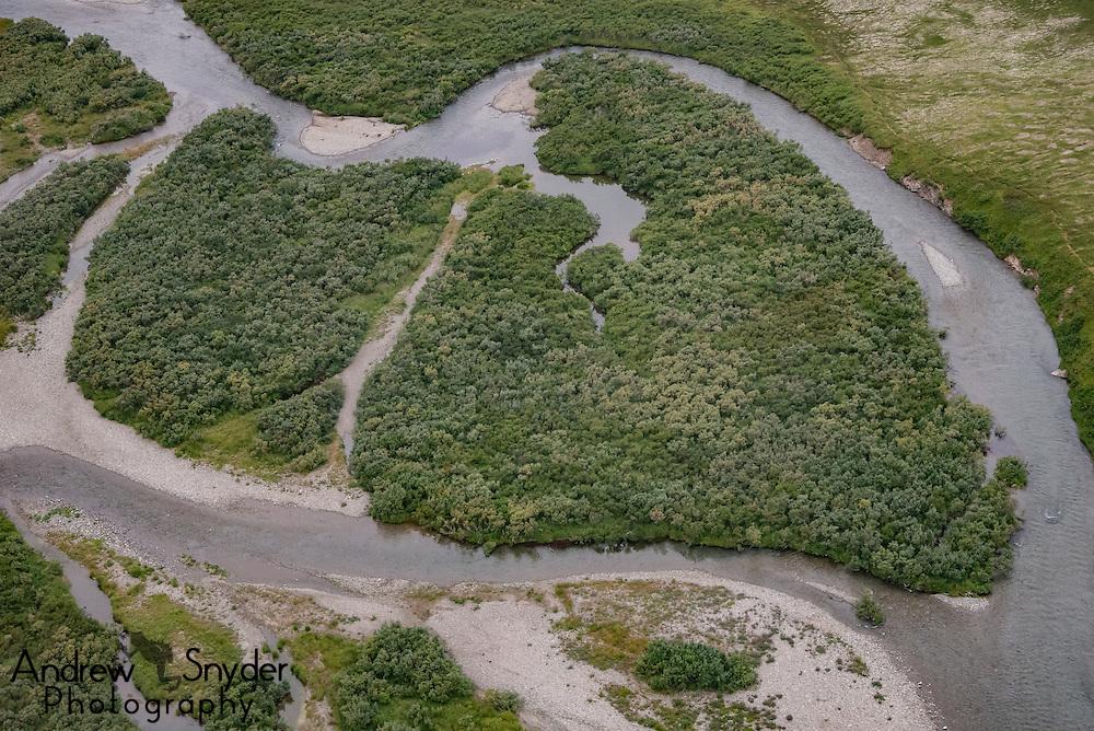 A winding river as seen during an aerial over Katmai, Alaska