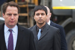 © Licensed to London News Pictures. 04/02/2016. London, UK. Navinder Singh Sarao (R) arrives at Westminster Magistrates court. Sarao is a stock market trader who is accused of contributing to the 2010 flash crash. He has been charged with 22 counts of fraud and market manipulation by the US authorities who want to extradite him. Photo credit: Peter Macdiarmid/LNP