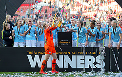 Manchester City's Karen Bardsley lifts the trophy after her side win the the FA Women's Continental League Cup final at Bramall Lane, Sheffield.