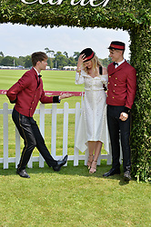Candice Lake at Cartier Queen's Cup Polo, Guard's Polo Club, Berkshire, England. 18 June 2017.<br /> Photo by Dominic O'Neill/SilverHub 0203 174 1069 sales@silverhubmedia.com