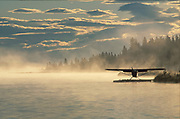 A float plane prepares to leave from Homer Alaska for an early-morning flight.