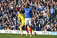 Portsmouth Forward, Omar Bogle (22) unable to connect with a through ball during the EFL Sky Bet League 1 match between Portsmouth and Barnsley at Fratton Park, Portsmouth, England on 23 February 2019.