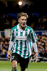 Jarrett Rivers of Blyth Spartans celebrates after scoring the winning goal to make it 1-2 and send his non league side through to the next round of the FA Cup - Photo mandatory by-line: Rogan Thomson/JMP - 07966 386802 - 05/12/2014 - SPORT - FOOTBALL - Hartlepool, England - Victoria Park - Hartlepool United v Blyth Spartans - FA Cup Second Round Proper.